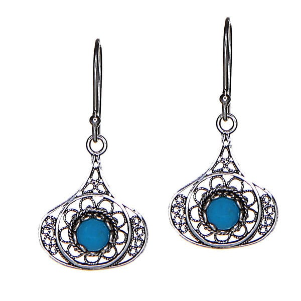 Turquoise and Sterling Silver Filigree Drop Earrings