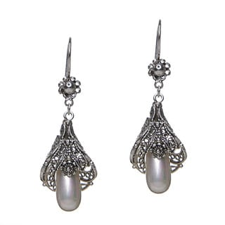 Pearl & Sterling Silver & Blossoming Flower Filigree Drop Earrings