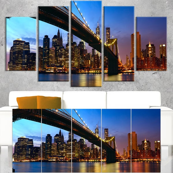 Manhattan City with Bridge under Blue Sky - Cityscape Canvas print