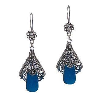 Sterling Silver Blue Agate Blossoming Flower Filigree Drop Earrings