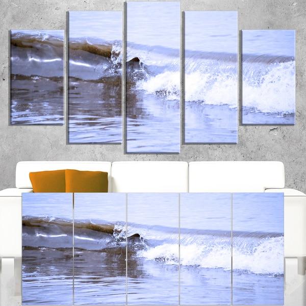 Crisp Blue Waves Splashing Beach - Contemporary Seascape Art Canvas