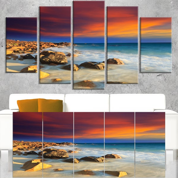 Beach with Stones on Foreground - Extra Large Seascape Art Canvas