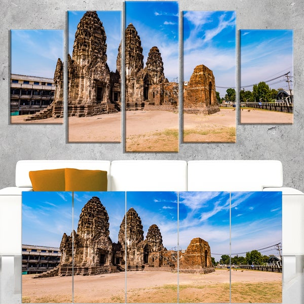 Ancient Temple in Thailand Panorama - Modern Seascape Canvas Artwork