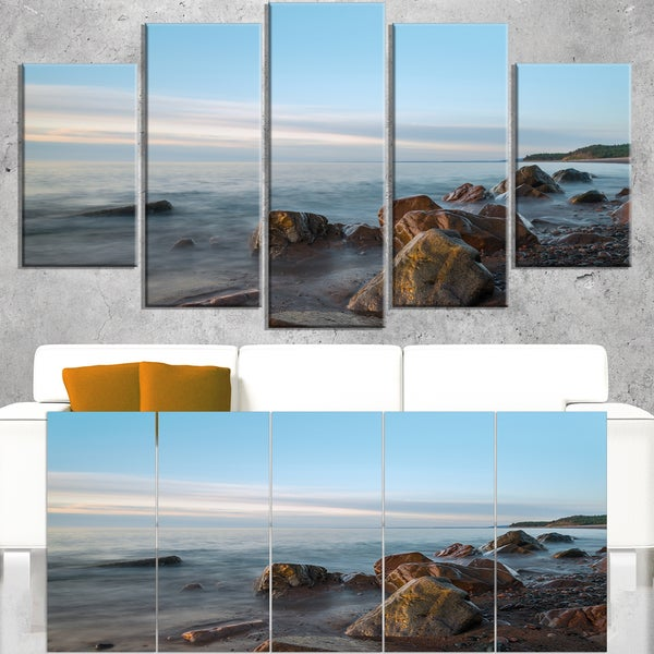 Cape Breton Beach Nova Scotia Canada - Modern Seascape Canvas Artwork