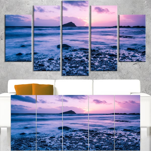 Slow Motion Waves on Rocky Beach - Modern Seascape Canvas Artwork