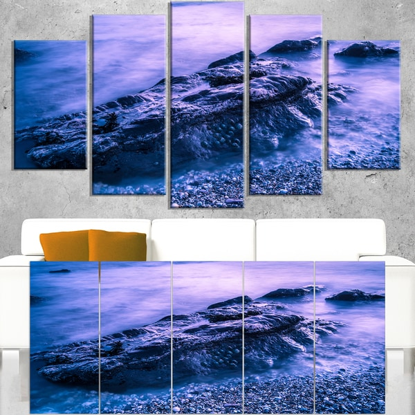 Blue Slow Motion Sea Waves - Modern Seascape Canvas Artwork