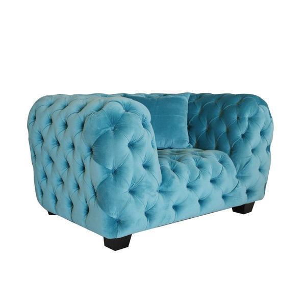 Casa Milano Collection Sky Blue Velvet Tufted Armchair