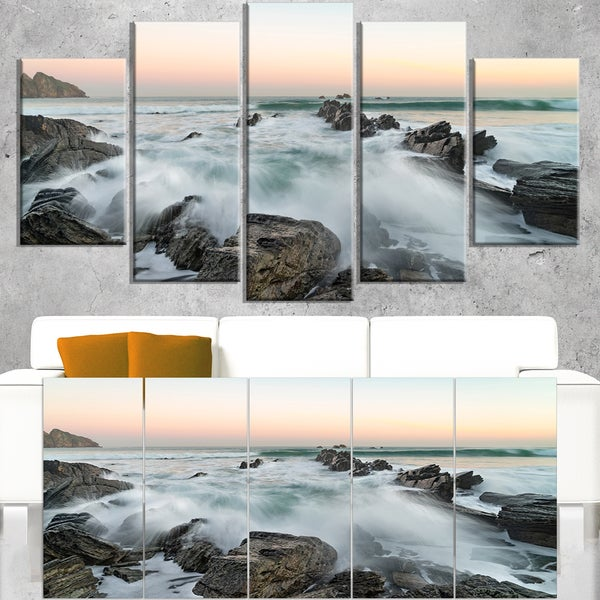 Bay of Beaky Vibrant White Waves - Modern Seashore Canvas Art