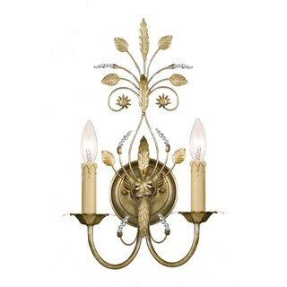 Crystorama Primrose Collection 2-light Gold Leaf Wall Sconce