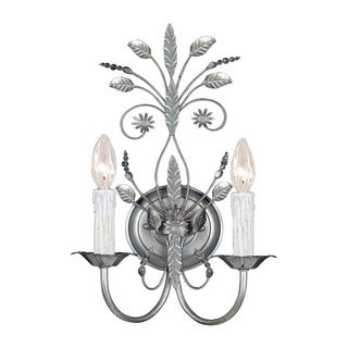 Crystorama Primrose Collection 2-light Silver Leaf Wall Sconce