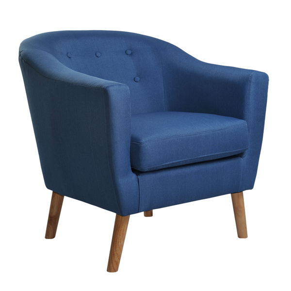 Nathaniel Home Jason Mid Century Blue Fabric Club Chair