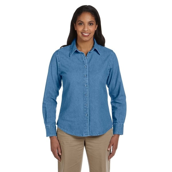 Women's Long-Sleeve Denim Light Denim Shirt