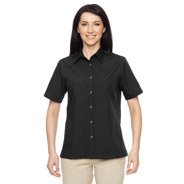 Advantage Women's Snap Closure Short-Sleeve Black Shirt