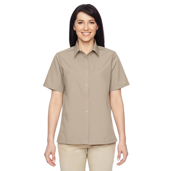 Advantage Women's Snap Closure Short-Sleeve Khaki Shirt