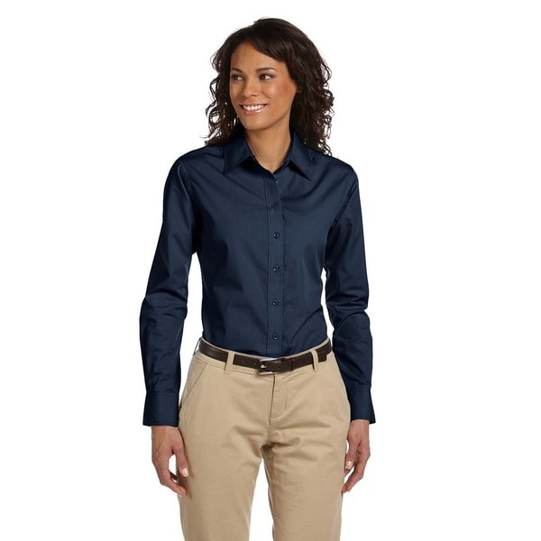 Women's Essential Poplin Dress Navy Shirt