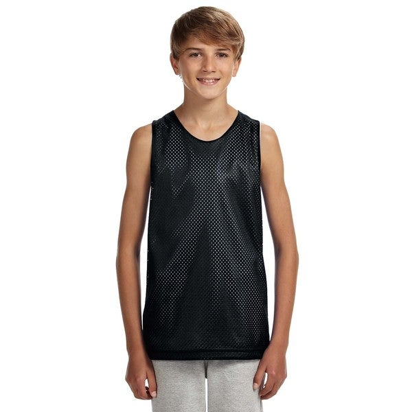 Boys' Black/White Mesh Reversible Tank