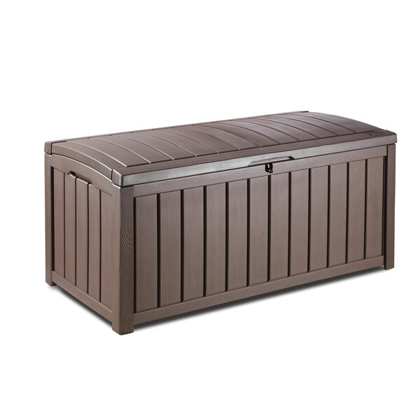 Keter Glenwood 101 Gallon Brown Plastic Deck Storage Box