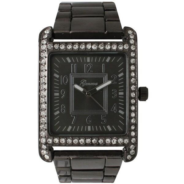 Olivia Pratt Black Stainless Steel/Rhinestone Rectangular Face Bracelet Watch