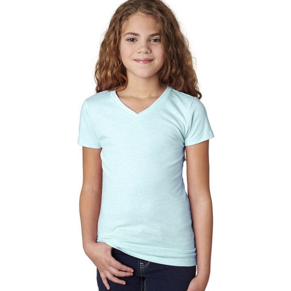Next Level Girls' Ice Blue The Adorable CVC V-Neck T-shirt