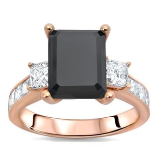 Noori 14k Rose Gold 3 3/5ct TDW Emerald-cut Black Diamond 3-stone Engagement Ring (SI1-SI2, G-H)