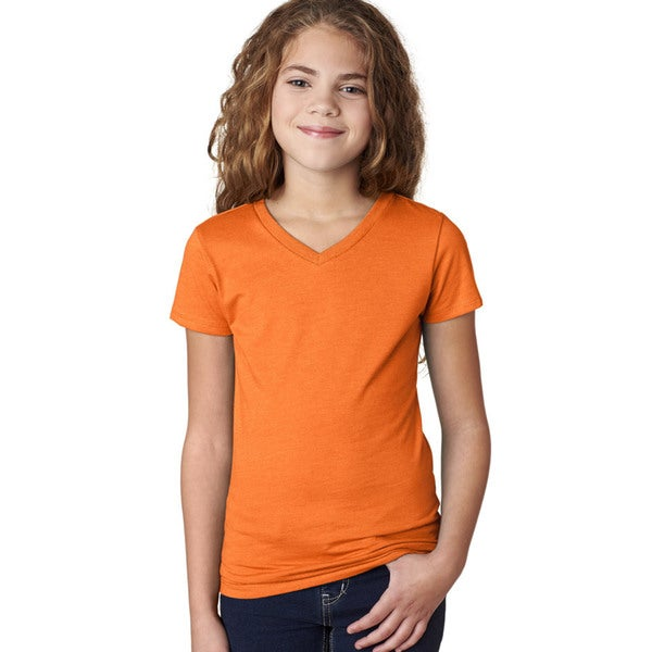 Next Level Girls The Adorable CVC Orange V-neck T-shirt