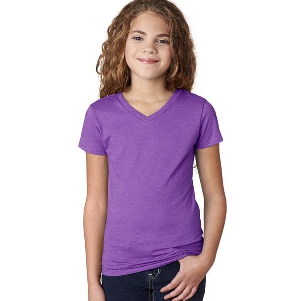 Next Level Girls' The Adorable CVC Purple Berry V-Neck T-Shirt