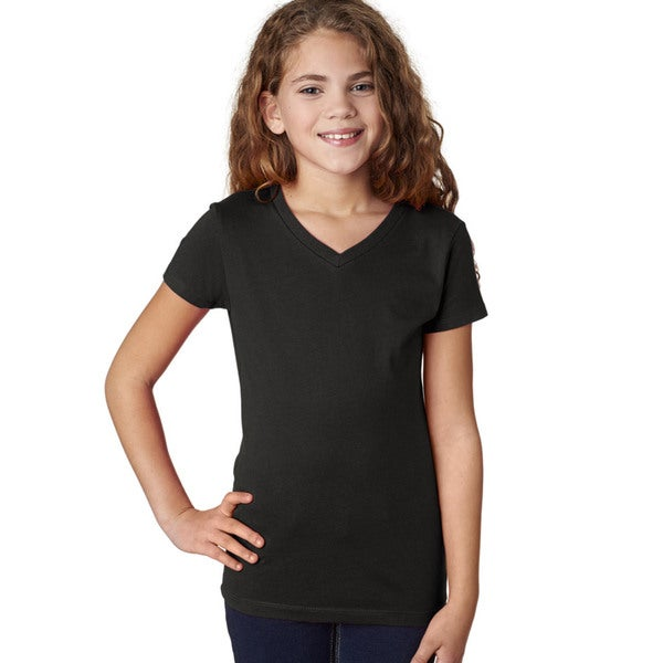 Next Level Girls' Black Cotton V-neck T-Shirt