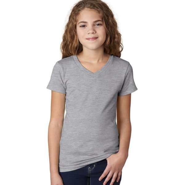Next Level Girls' The Adorable Heather Grey V-neck T-shirt