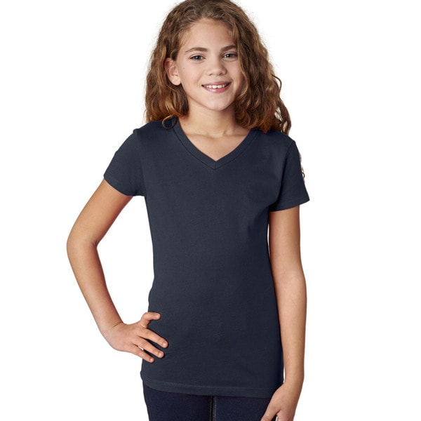 Next Level Girls' The Adorable Midnight Navy Cotton V-neck T-Shirt