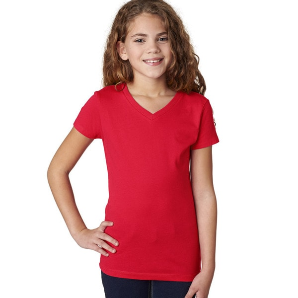 Next Level Girls' Red V-neck T-shirt
