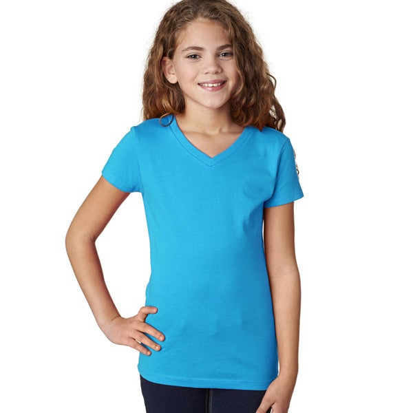 Next Level Girls' The Adorable Turquoise V-neck T-shirt