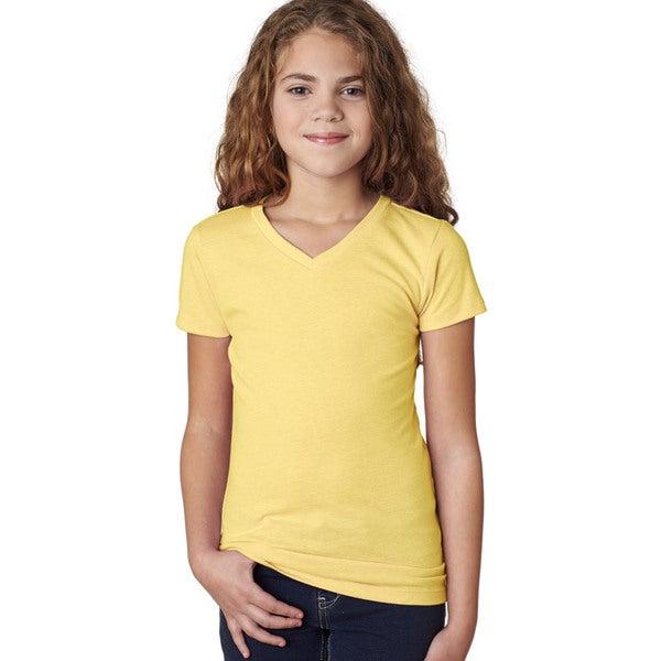 Next Level Girls' Banana Cream Cotton V-Neck T-Shirt