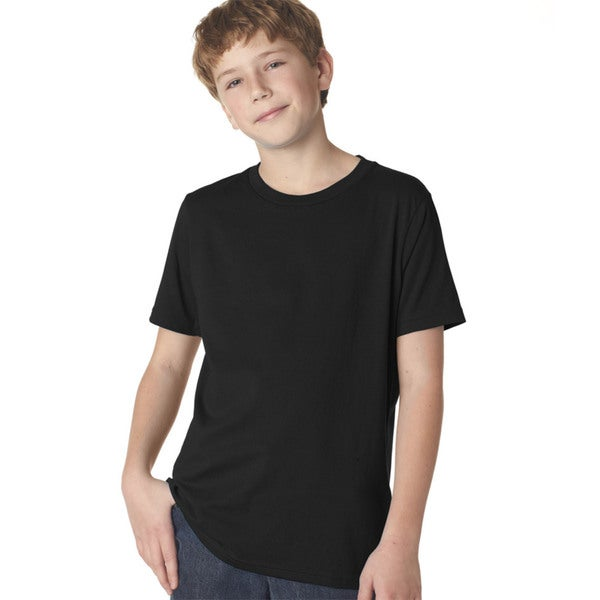Next Level Boys' Black Cotton Premium Short-sleeve Crew T-shirt