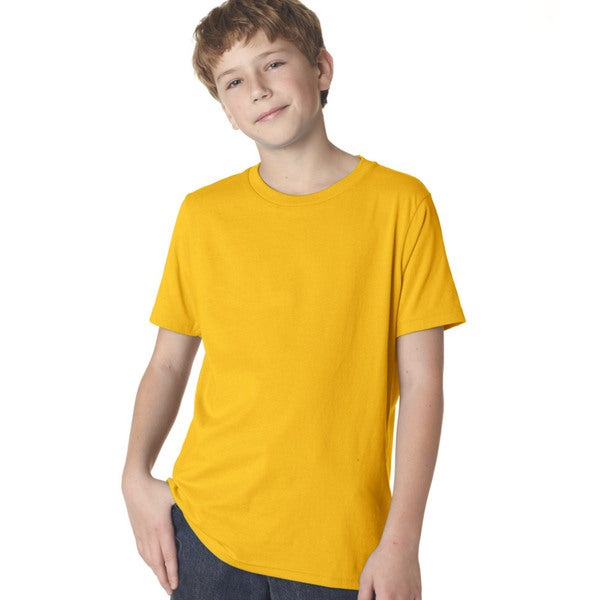 Next Level Boys' Premium Gold Cotton Short-Sleeved Crew T-Shirt