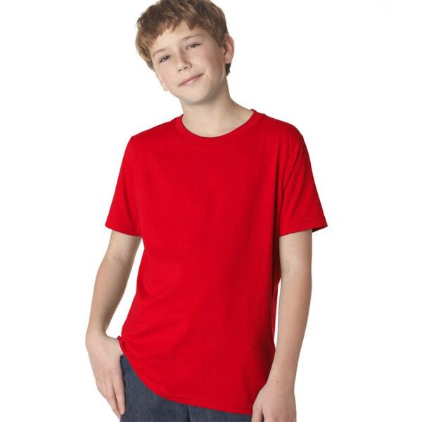 Next Level Boys' Red Cotton Premium Short-sleeve Crew T-shirt