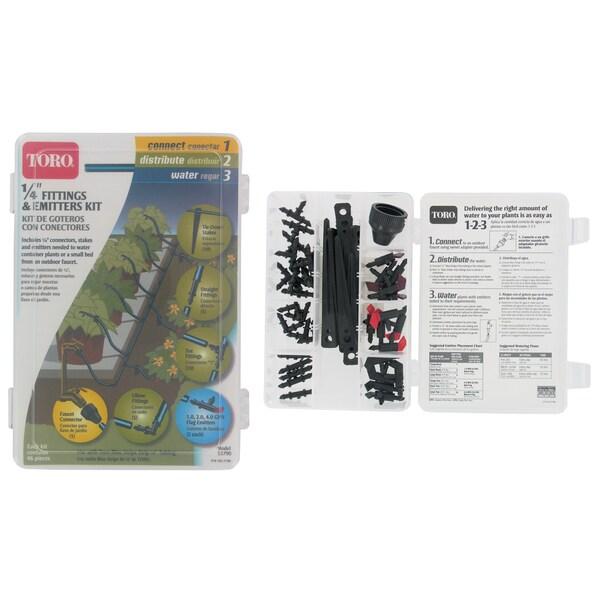 Toro 53790 1/4-inch Blue Stripe Drip Fitting & Emitter Kit