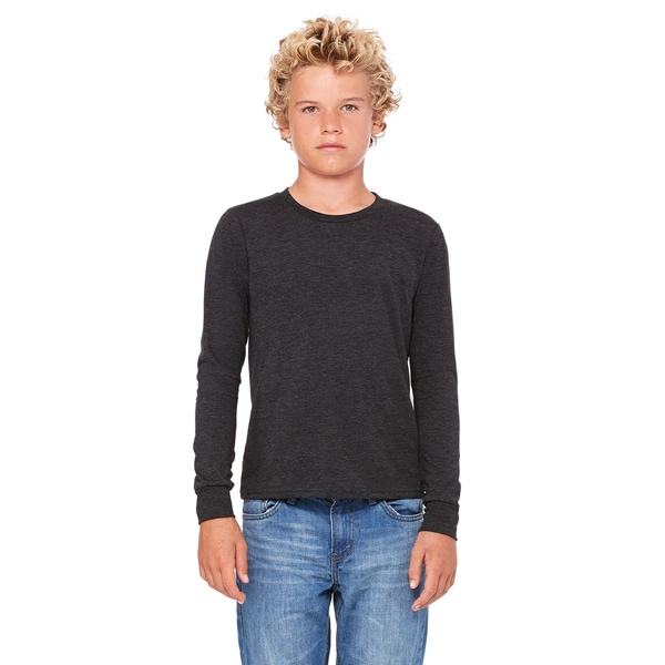 Triblend Boys' Char-Black Long-sleeve Jersey T-Shirt