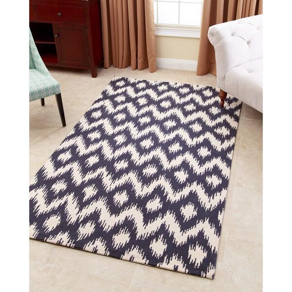 ABBYSON LIVING Hand-tufted Ellie Navy Blue New Zealand Wool Rug (5' x 8')