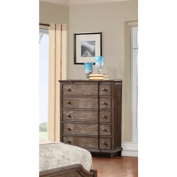LYKE Home Enzo Brown 5-drawer Chest