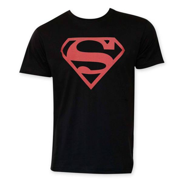 Superman Red Logo Black T-Shirt