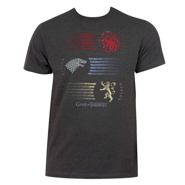 'Game Of Thrones' Men's Grey Stripes Logo T-shirt