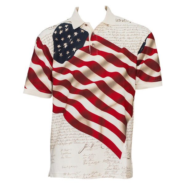 Benji American Flag Cotton Polo
