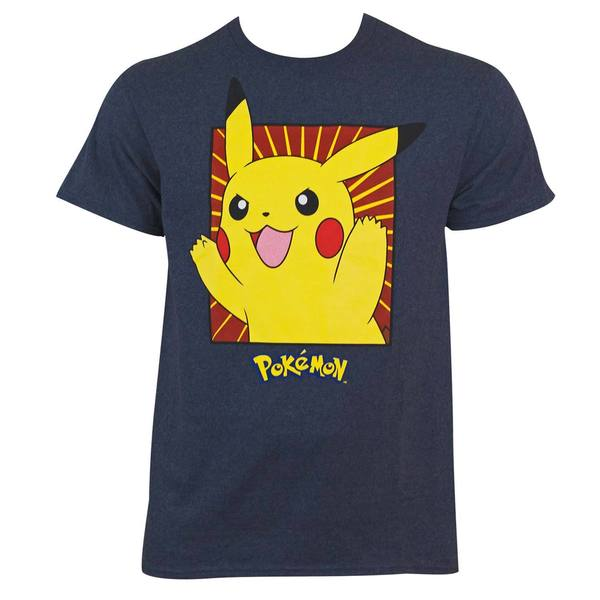 Pokemon Navy Blue Cotton Boxed Pikachu T-shirt