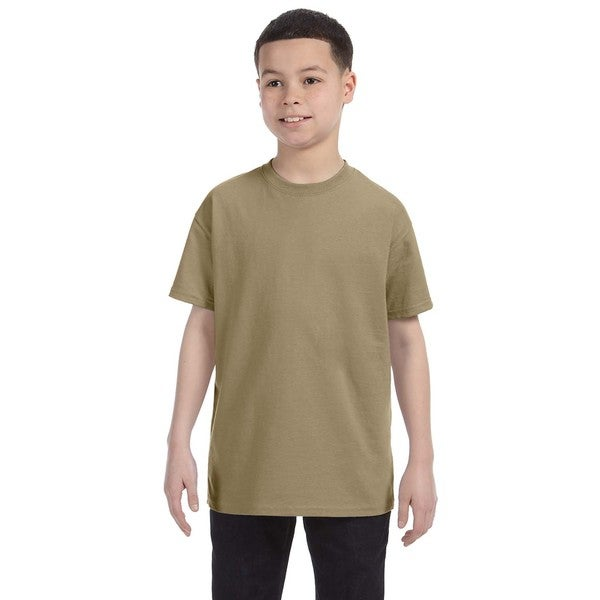 Boys' Khaki Cotton/Polyester Heavyweight Blend T-shirt