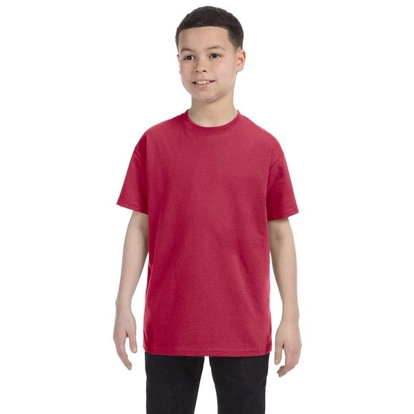 Heavyweight Blend Boys' Vintage Heather Red Cotton/Polyester T-Shirt