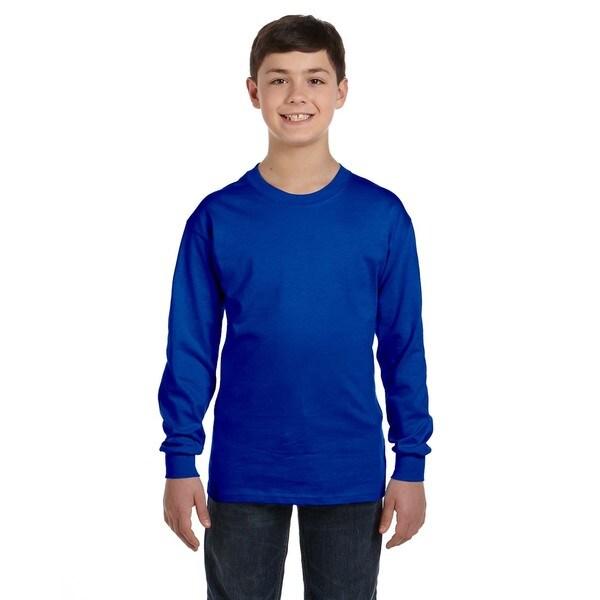 Boys' Royal Heavy Cotton Long-sleeve T-shirt