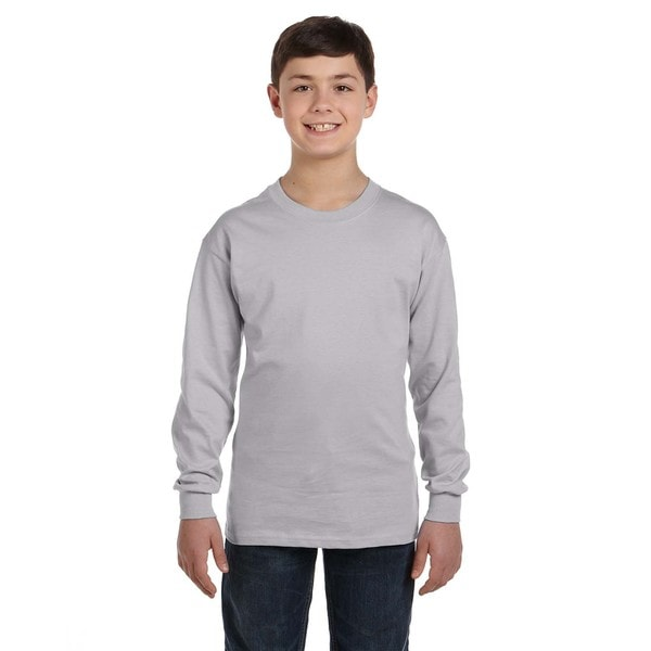 Gildan Boys' Sport Grey Heavy Cotton Long-sleeve T-shirt