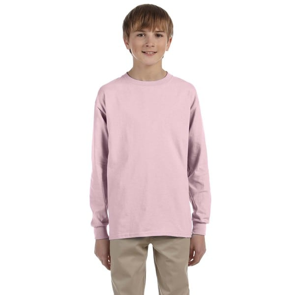 Boys Pink Long-sleeve Heavyweight T-shirt