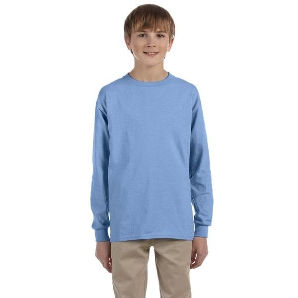 Boys' Light Blue Heavyweight Blend Long-sleeve T-shirt