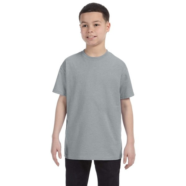 Boys' Grey Polyester/Cotton Heavyweight Blend Athletic Heather T-shirt